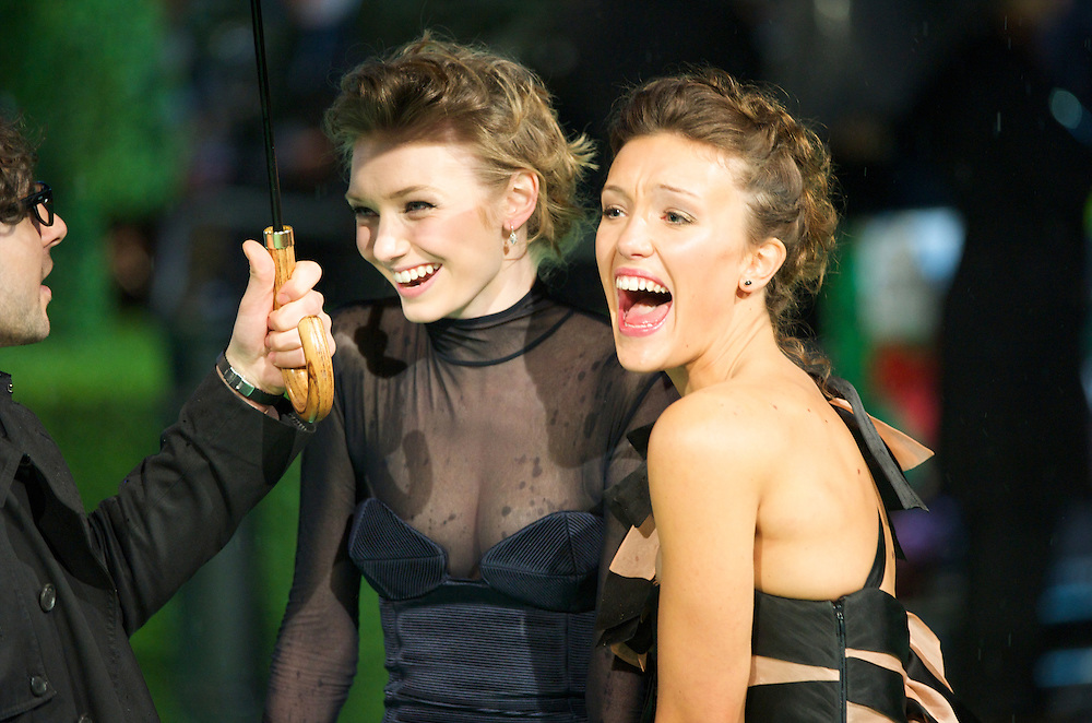 Actresses Eleanor Tomlinson and Eleanor Gecks are interviewed at the Royal World Premiere of 'Alice in Wonderland' at the Odeon Leicester Square in London.