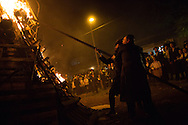 Orthodox jews starts the bonefier for the Lag BaOmer celebrations in the orthodox distric of Mea Shearim