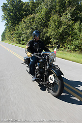 Bartek Mizerski riding his 1936 Sokol 1000 Polish motorcycle during Stage 5 of the Motorcycle Cannonball Cross-Country Endurance Run, which on this day ran from Clarksville, TN to Cape Girardeau, MO., USA. Tuesday, September 9, 2014.  Photography ©2014 Michael Lichter.