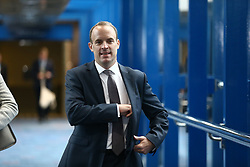 © Licensed to London News Pictures. 03/10/2018. Birmingham, UK. Domonic Raab today ahead of Prime Minister Theresa May's speech at the Conservative Party Conference being held at the International Convention Centre in Birmingham. Photo credit: Andrew McCaren/LNP