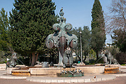 Israel, Jerusalem, Bloomfield Garden, Lions Fountain by Gernot Rumpf (born 1941) is a German sculptor known for his fountain and other bronze sculptures, with the Palatinate and biblical motifs. These can be seen not only in German cities, but also in Jerusalem and Tokyo. A part of his work came under the artistic collaboration of his wife Barbara Rumpf.