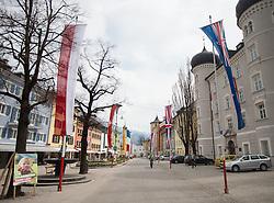 16.04.2013, Hauptplatz, Lienz, AUT, Giro del Trentino, Etappe 1, Lienz nach Lienz, im Bild Feature, Hauptlatz  und Lieburg mit Fahnenspalier // during stage 1, Lienz to Lienz of the Giro del Trentino at the Hauptplatz, Lienz, Austria on 2013/04/16. EXPA Pictures © 2013, PhotoCredit: EXPA/ Johann Groder