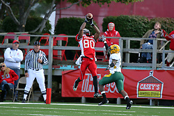 25 October 2008: John Richardson gives Kelvin Chandler just enough room to catch a pass from Drew Kiel for a touchdown in a game which the North Dakota Bison defeated the Illinois State Redbirds at Hancock Stadium on campus of Illinois State University in Normal Illinois