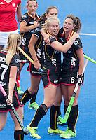 LONDON -  Unibet Eurohockey Championships 2015 in  London.  Poland v Belgium .  Louise Versavel (m) has scored for Belgium and celebrates with Anouk Raes.     WSP Copyright  KOEN SUYK