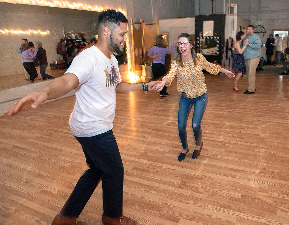 Hartford, CT, 2/6/19<br /> 3070680_hc-ctnow-swing-dance-hartford <br /> <br /> The Hartford Underground holds a weekly swing dance evening at 56 Arbor St. Hartford. During the social dance Javier Reyes Johnson of East Hartford (who also DJs) and Jaime McAtee of Enfield.<br /> <br /> Photo by MARA LAVITT | Special to the Courant.