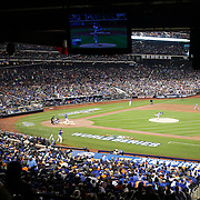 Edinson Volquez, Kansas City Royals, pitching to Lucas Duda, New York Mets, during the New York Mets Vs Kansas City Royals, Game 5 of the MLB World Series at Citi Field, Queens, New York. USA. 1st November 2015. Photo Tim Clayton
