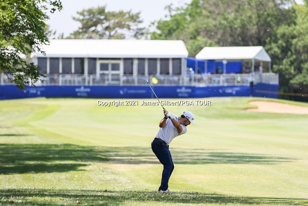 WICHITA, KS - JUNE 20: Chad Ramey plays his shot from the 18th hole during the final round of the Wichita Open Benefitting KU Wichita Pediatrics at Crestview Country Club on June 20, 2021 in Wichita, Kansas. (Photo by James Gilbert/PGA TOUR via Getty Images)