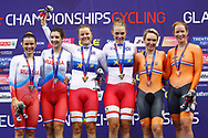 Podium, Women Madison, Amalie Dideriksen (Denmark) - Julie Leth (Denmark) gold medal, Gulnaz Badykova - Diana Klimova (Russian Federation) silver medal, Amy Pieters (Netherlands) - Kristen Wild (Netherlands) bronze medal during the Track Cycling European Championships Glasgow 2018, at Sir Chris Hoy Velodrome, in Glasgow, Great Britain, Day 6, on August 7, 2018 - Photo luca Bettini / BettiniPhoto / ProSportsImages / DPPI<br /> - Restriction / Netherlands out, Belgium out, Spain out, Italy out -