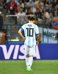 NIZHNY NOVGOROD, June 21, 2018  Lionel Messi of Argentina reacts during the 2018 FIFA World Cup Group D match between Argentina and Croatia in Nizhny Novgorod, Russia, June 21, 2018. Croatia won 3-0. (Credit Image: © Li Ga/Xinhua via ZUMA Wire)