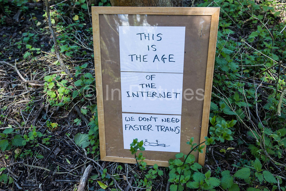 An anti-HS2 sign is pictured at Denham Ford Protection Camp on 6th April 2021 in Denham, United Kingdom. Activists opposed to the HS2 high-speed rail link continue to oppose the project from a series of camps located along the Phase One route between London and Birmingham.