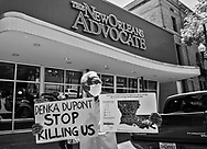 Robert Taylor, founder of the Concerned Citizens of St. John protesting outside of the Advocate's office on April, 21 where Rep Cedric Richmond held a call-in townhall event. Taylor and members of the Coalition Against Death Alley wanted to bring attention to the fact no questions about the role pollution from the petrochemical plants in river parishes has on the high number of deaths from COVID-19 in the African American community that live near the plants were taken at Richmond's last event.