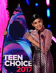 LOS ANGELES - AUGUST 13: Vanessa Hudgens accepts the #SeeHer award onstage at FOX's 'Teen Choice 2017' at the Galen Center on August 13, 2017 in Los Angeles, California. (Photo by Frank Micelotta/FOX/PictureGroup) *** Please Use Credit from Credit Field ***