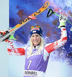 22.03.2015, Roc de Fer, Meribel, FRA, FIS Weltcup Ski Alpin, Meribel, Finale, Riesenslalom, Damen, Siegerehrung, im Bild Eva-Maria Brem (AUT, 2. Platz) am Podium für den Tagessieg // second placed Eva-Maria Brem of Austria during the winner Ceremony for the lady's Giant Slalom of FIS Ski Alpine World Cup finals at the Roc de Fer in Meribel, France on 2015/03/22. EXPA Pictures © 2015, PhotoCredit: EXPA/ Erich Spiess