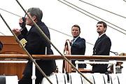 Prins Maurits, beschermheer van Sail Amsterdam, geniet met volle teugen van het maritiem spektakel. Hij voer woensdagmiddag rond 14.15 uur eigenhandig het vlaggenschip, De Clipper Stad Amsterdam van de Sail-In Parade het IJ op. <br /> <br /> Prince Maurice, patron of Sail Amsterdam, thoroughly enjoying the maritime spectacle. He sailed around 14:15 pm Wednesday handedly flagship, The Clipper Stad Amsterdam's Sail-In Parade on the IJ.<br /> <br /> Op de foto / On the photo:  Prins Maurits / Prince Maurits