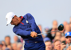 Team Europe's Thorbjorn Olesen tees off the 7th during the Fourballs match on day one of the Ryder Cup at Le Golf National, Saint-Quentin-en-Yvelines, Paris.
