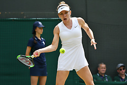 © Licensed to London News Pictures. 08/07/2019. London, UK. Simona Halep of Romania wins against Cori Gauff of United States of America in the forth round of the ladies singles draw of the Wimbledon Tennis Championships 2019 on Day 7 held at the All England Lawn Tennis and Croquet Club. Photo credit: Ray Tang/LNP
