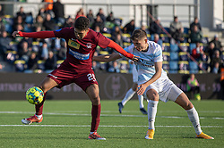 Thomas Santos (Skive IK) og Frederik Juul Christensen (FC Helsingør) under kampen i 1. Division mellem FC Helsingør og Skive IK den 18. oktober 2020 på Helsingør Stadion (Foto: Claus Birch).