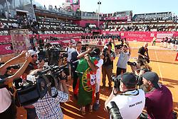 May 6, 2018 - Estoril, Portugal - Joao Sousa of Portugal hugs his coach after winning the Millennium Estoril Open ATP 250 tennis tournament final against Frances Tiafoe of US, at the Clube de Tenis do Estoril in Estoril, Portugal on May 6, 2018. (Joao Sousa won 2-0) (Credit Image: © Pedro Fiuza/NurPhoto via ZUMA Press)