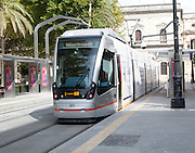 Modern Metro-Centro tram transport system station at Plaza Nueva central Seville, Spain
