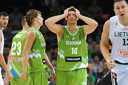 Jaka Klobucar of Slovenia and Miha Zupan of Slovenia during friendly match between National Teams of Slovenia and Lithuania before World Championship Spain 2014 on August 18, 2014 in Kaunas, Lithuania. Photo by Robertas Dackus / Sportida.com