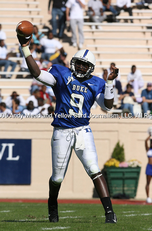 14 October 2006: Duke's Thaddeus Lewis. The Florida State University Seminoles defeated the Duke University Blue Devils 51-24 at Wallace Wade Stadium in Durham, North Carolina in an Atlantic Coast Conference NCAA Division I College Football game.