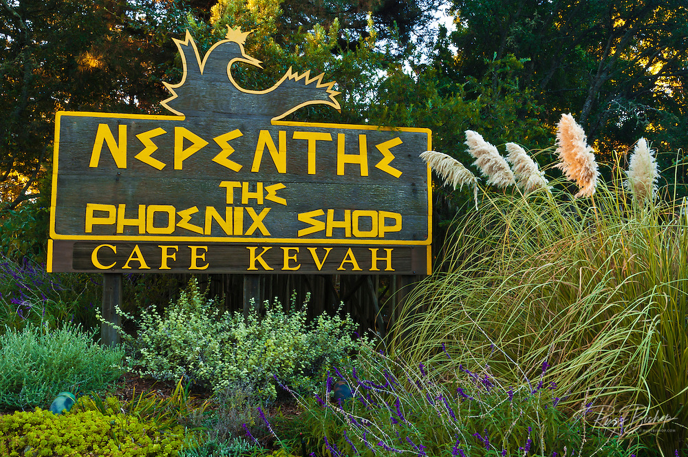 Entrance sign at Nepenthe, Big Sur, California