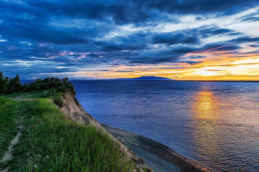Coastal sunset view from Anchorage, Alaska, USA.