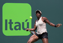 March 29, 2018 - Key Biscayne, Florida, United States - Sloan Stephens, from the USA, in action against Victoria Azarenka, from Belarus, during her semifinal final match at the Miami Open in Miami, on March 29, 2018. (Credit Image: © Manuel Mazzanti/NurPhoto via ZUMA Press)