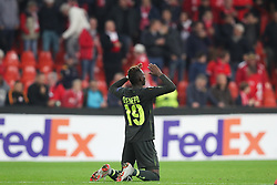 October 4, 2018 - Liege, BELGIUM - Standard's Moussa Djenepo celebrates after a game of Belgian soccer team Standard de Liege against Turkish team Akhisar Belediyespor, in Liege, Thursday 04 October 2018, on day two of the Europa League group stage in group J. BELGA PHOTO BRUNO FAHY (Credit Image: © Bruno Fahy/Belga via ZUMA Press)