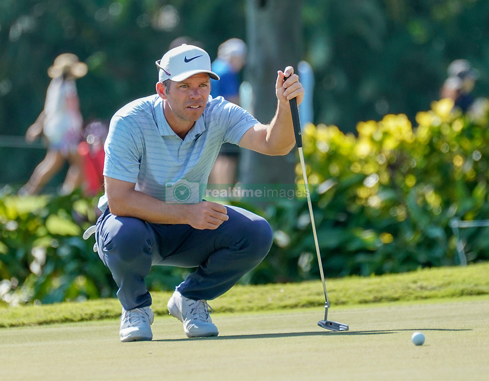 January 11, 2019 - Honolulu, HI, U.S. - HONOLULU, HI - JANUARY 11: Paul Casey lines up his putt at the 3rd hole during the second round of the Sony Open at the Waialae Country Club in Honolulu, HI. (Photo by Darryl Oumi/Icon Sportswire) (Credit Image: © Darryl Oumi/Icon SMI via ZUMA Press)