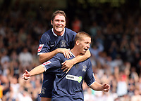 Photo: Chris Ratcliffe.<br />Southend United v Stoke City. Coca Cola Championship.<br />05/08/2006.<br />Freddy Eastwood (R) of Southend is jumped on by Lee Bradbury as they celebrate Eastwood scoring the first Southend goal from the penalty spot.