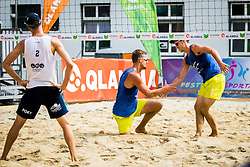 Jernej Potocnik of Debitel, Danijel Pokersnik of SK Vienpi and Nejc Zemljak of Debitel during Qlandia Beach Challenge 2015 and Beach Volleyball Slovenian National Championship 2015, on July 25, 2015 in Kranj, Slovenia. Photo by Ziga Zupan / Sportida