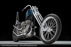 A blue flames flathead chopper built by Jim Harper of Chopper Supply Co. in Fort Worth, TX. Photographed by Michael Lichter in Boulder, CO on July 18, 2016. ©2016 Michael Lichter.