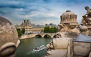 Le Louvre art museum and the Seine river in Paris, France