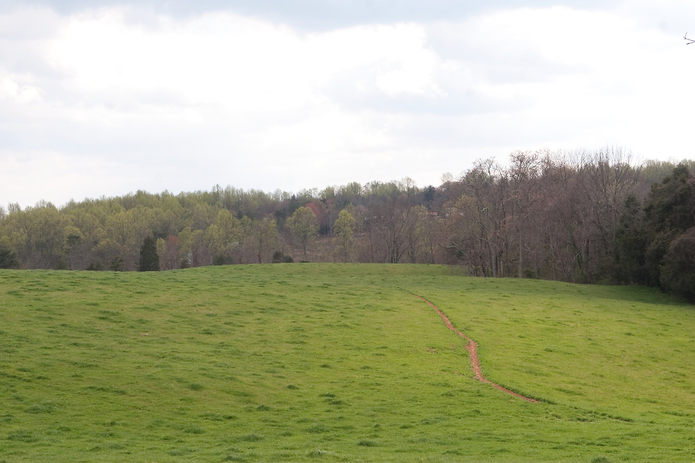 A path through one of the fields on the grounds of Ash Lawn Highland, home of President James Monroe.