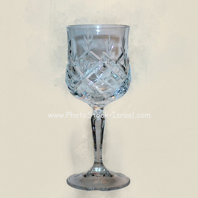 Digitally enhanced image of a Crystal wine goblet used for the wine blessing on Friday night in the Jewish religion and for drinking the blood of Christ in the Catholic faith