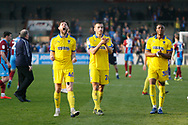 Wimbledon midfielder Anthony Wordsworth (40) celebrates at full time during the EFL Sky Bet League 1 match between Scunthorpe United and AFC Wimbledon at Glanford Park, Scunthorpe, England on 30 March 2019.