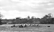 Putney - Chiswick, London,  Great Britain.<br /> Cambridge on the left taking advantage of the bend to gain a slight gap over Oxford, during the  <br /> 2016 University Boat Race, Oxford vs Cambridge, Putney. Putney  to Mortlake, Championship Course. River Thames.<br /> <br /> Sunday  27/03/2016 <br /> <br /> [Mandatory Credit; Peter SPURRIER/Intersport-images]