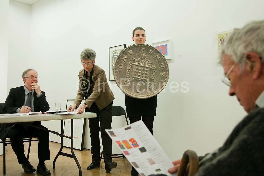 The piece Shield by artist Cat Phillipps up for grabs. Art auction held at Gimpel Fils in support of Ken Livingstone's bid for London Mayor in May 2012.