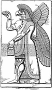 Assyrian winged god Nisroch carrying the pine cone, symbol of regeneration.  Engraving after relief excavated at Nimrod in the 19th century