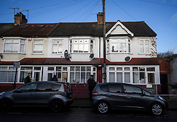 © Licensed to London News Pictures. 04/04/2018. London, UK. Police officers stand in front of two properties, hit by bullets, on Chalgrove Road, Tottenham, north London, at the scene where 17 year old Tanesha Melbourne, was shot dead on Monday. A recent spree of killings in the capital has taken the murder toll for the year so far to 48. Photo credit: Ben Cawthra/LNP