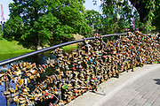 Lovelocks on a bridge in Riga, Latvia