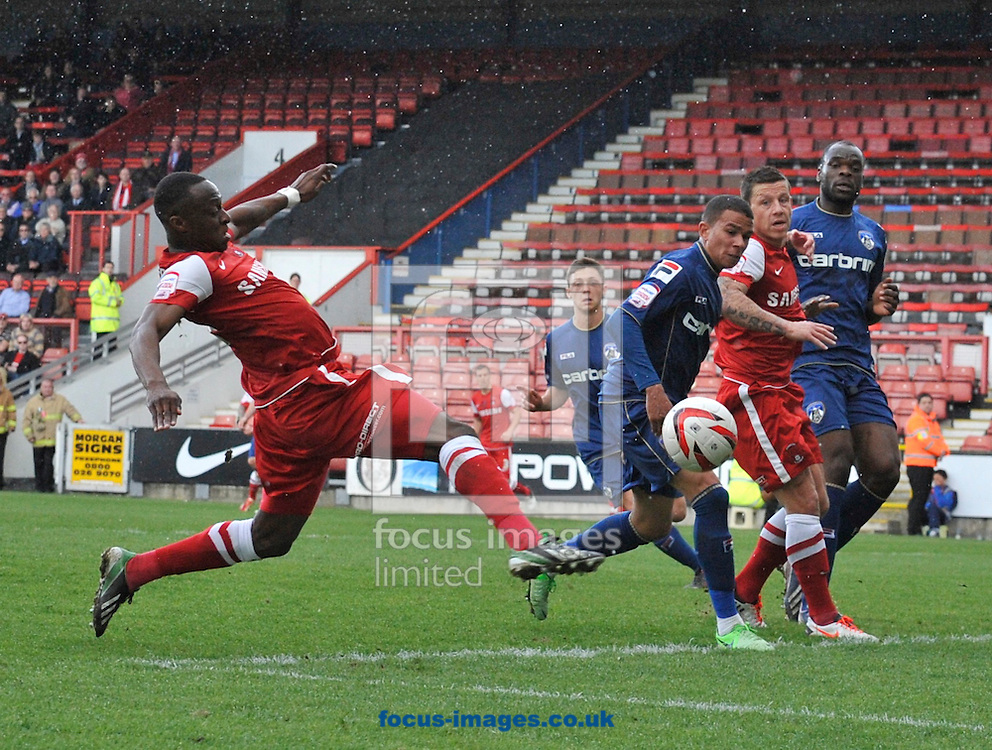 Picture by Alan Stanford/Focus Images Ltd +44 7915 056117.27/04/2013.Moses Odubajo of Leyton Orient has a shot on goal during the npower League 1 match at the Matchroom Stadium, London.. .