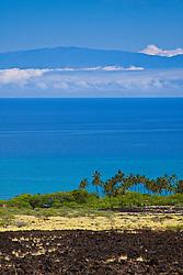 lava field, Kiholo Bay and Haleakala volcanic mountain on Maui, Kohala Coast, Big Island, Hawaii, USA, Pacific Ocean