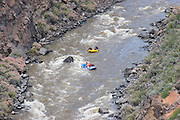 Aerial view of rafters in two rafts on the Rio Grande River