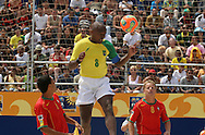 Footbal-FIFA Beach Soccer World Cup 2006 -  Semi Final- BRA xPOR -Junior Negão, Alan and Marinho -Rio de Janeiro- Brazil - 11/11/2006.<br />Mandatory Credit: FIFA/Ricardo Ayres