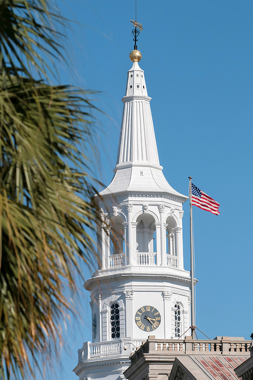 The steeple of St. Michaels Episcopal Church in Charleston, South Carolina on Wednesday, March 7, 2018. Copyright 2018 Jason Barnette