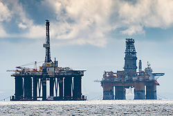 View of mothballed offshore platforms Sedco 711 (left ) and Deepsea Aberdeen moored in Firth of Forth river , Scotland, UK