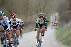 Joëlle Numainville charging across the chalk roads at Strade Bianche - Elite Women. A 127 km road race on March 4th 2017, starting and finishing in Siena, Italy. (Photo by Sean Robinson/Velofocus)