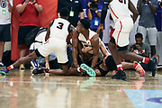 NORTH AUGUSTA, SC. July 10, 2019. Players dive on the floor at Nike Peach Jam in North Augusta, SC. <br /> NOTE TO USER: Mandatory Copyright Notice: Photo by Jon Lopez / Nike